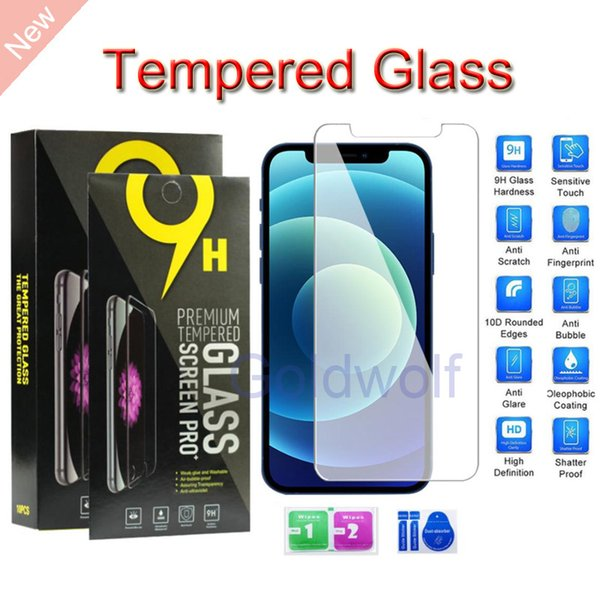 top popular For iPhone 12 11 Pro Max XS Max XR 8 7 6S Plus Tempered Glass Screen Protector Screen Film 0.33mm 9H Paper Package For Samsung LG Phones 2020