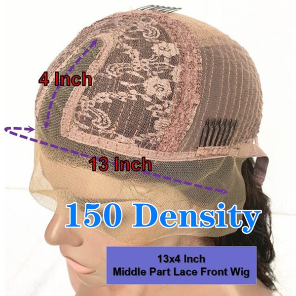 150 density13x4 Parte peluca Medio