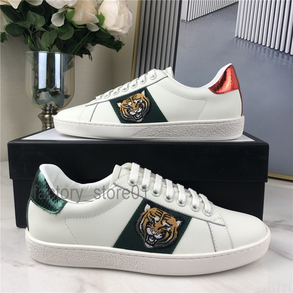 best selling Men Women Sneaker Casual Shoes Top Quality Snake Chaussures Leather Sneakers Ace Bee Embroidery Stripes Shoe Walking Sports Trainers Tiger