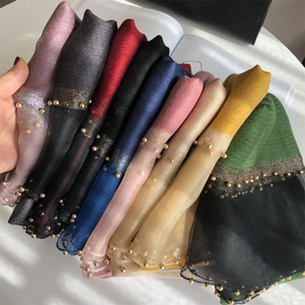 top popular 2020 Solid Beading women scarf summer silk scarves lady shawl wrap hijab foulard female bandana Pearl jewel headband 2021