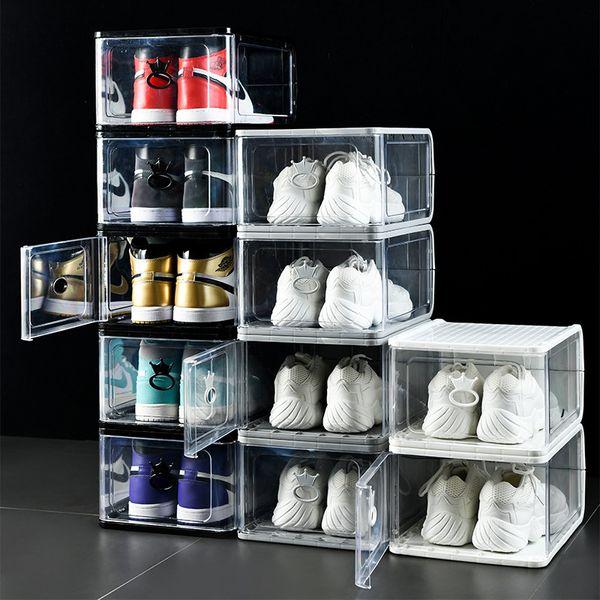 top popular Thicken Clear Plastic Shoe Box Dustproof sport Shoe Storage Box Flip Transparent Sneaker Boxes Stackable boot Organizer Box Black Grey White 2021