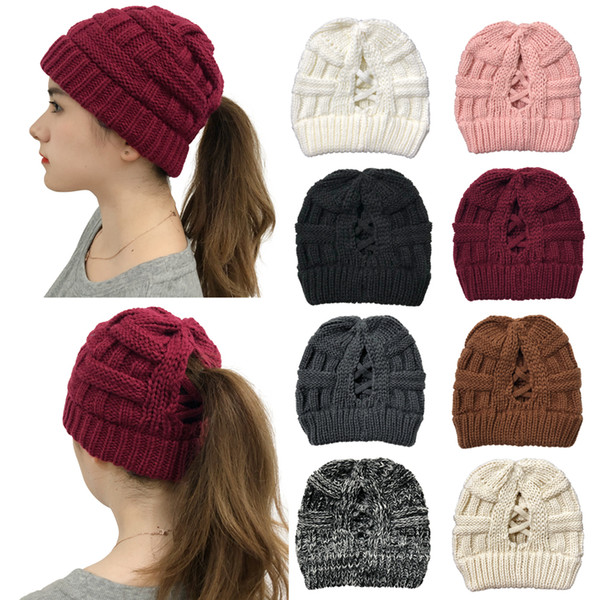 top popular 16Styes Criss Cross Beanies Girl Winter Knitted Hats Women Cross Ponytail Beanie Outdoor Crochet Beanies Caps Party Hat GGA3764 2021
