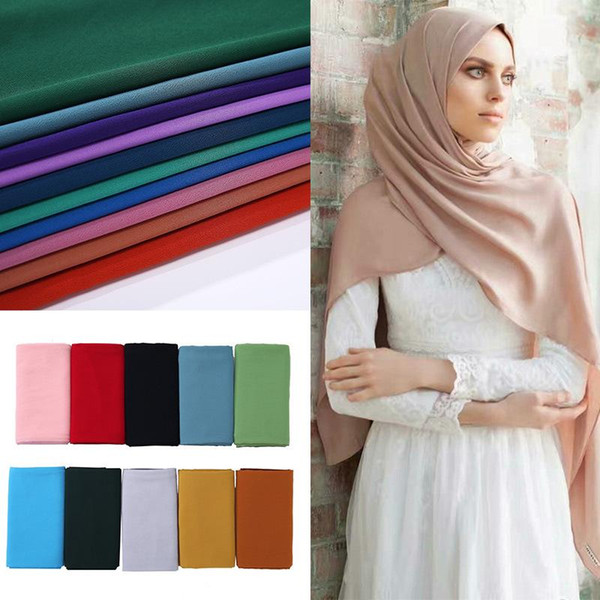 top popular 2020 New Elegant Modest Women Bubble Chiffon Solid Oversizes Muslim Head Scarf Ladies Shawl and Wrap Female Foulard Hijab Stoles 2021