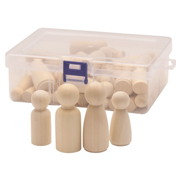best selling 50pcs box Mix Size 33mm 43mm 53mm 65mm Wooden Doll DIY Children Painting Loose Wood Beads Boys Girls Graffiti Toys