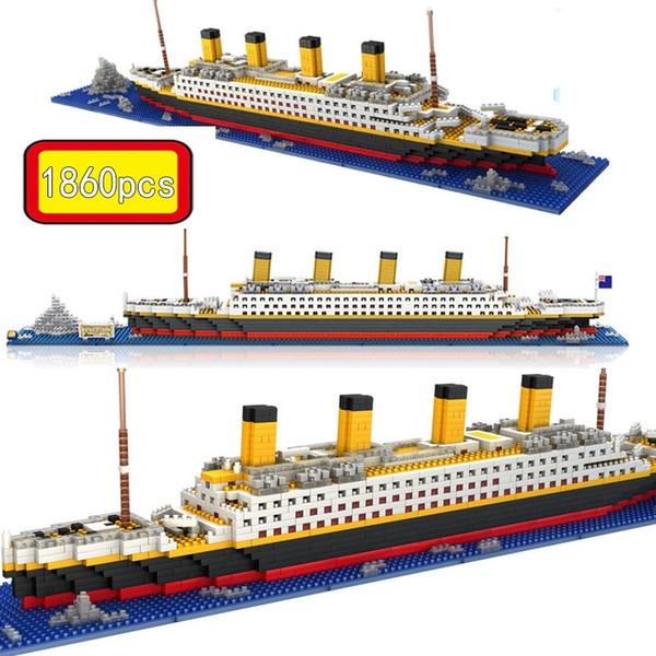top popular Titanic Ship Model Building Blocks Bricks Toys With 1860Pcs Mini Titan 3D Kit Diy Boat Educational Collection For Children Boys Y200428 2021