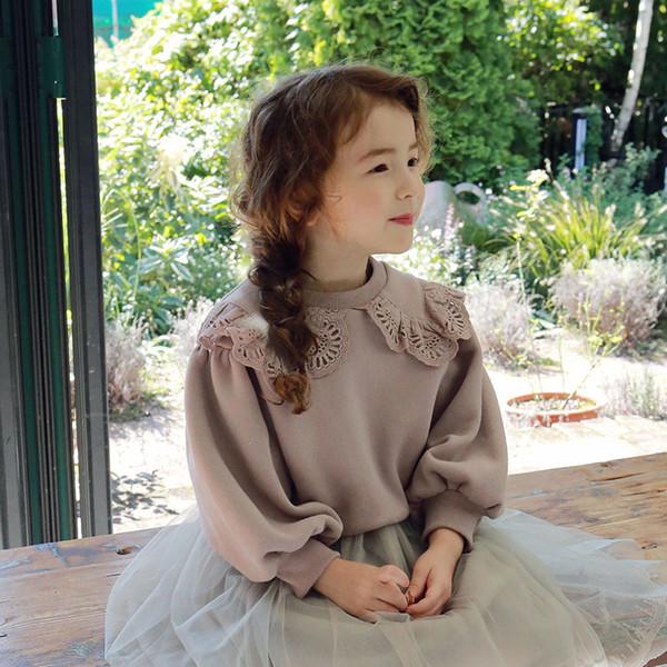 top popular Lovely princess style girl big Lapel Plush sweater lace collar long sleeve top wide sleeve girl long sleeve shirt 2021