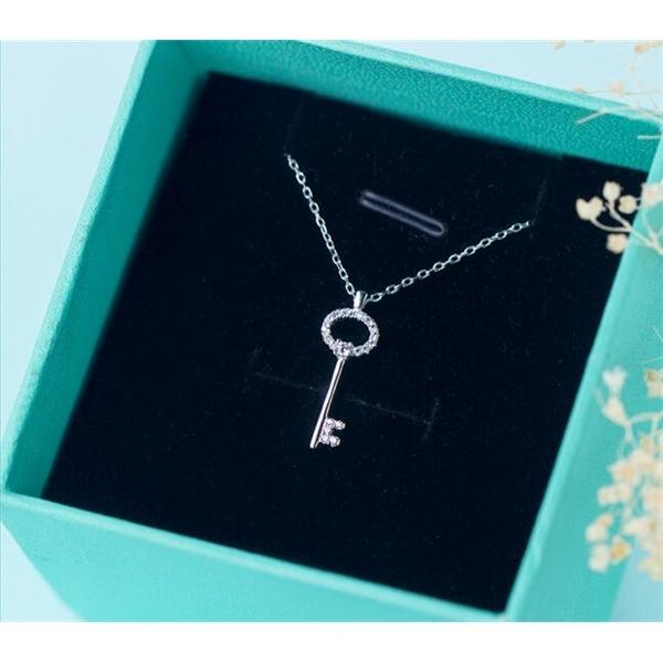 top popular 100% Real. 925 Sterling Silver Jewelry Love Key Pendant Necklace with White crystals CZ rolo chain 18inch women's gift GTLX1011 1020 2021
