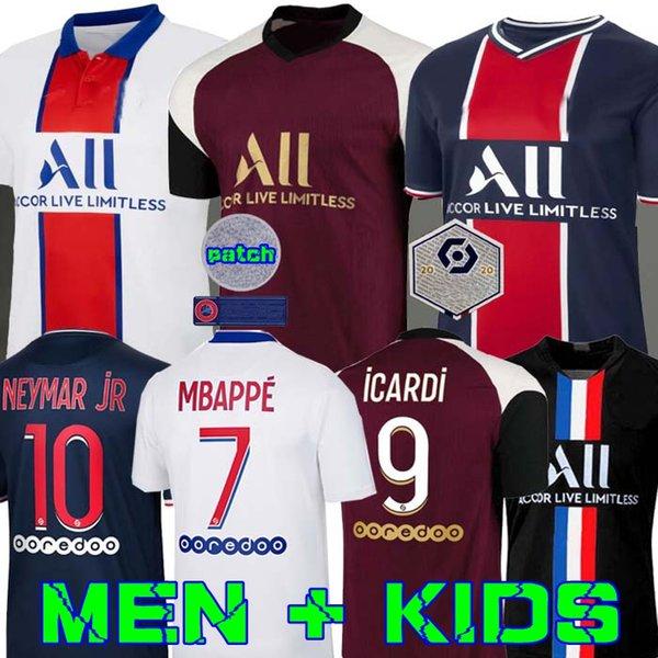 top popular Maillots de football 20 21 PSG soccer jersey 2020 MBAPPE ICARDI shirt men kids maillot de foot hommes enfants KIMPEMBE DI MARIA KEAN BIALLO 2020