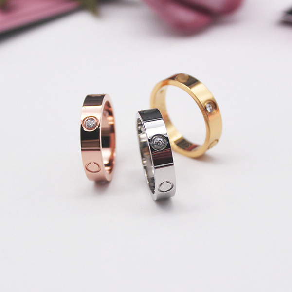 best selling Rose Gold Stainless Steel love Ring With Crystal For Woman Jewelry Rings Men Wedding Promise Rings For Female Women Gift Engagement with bag