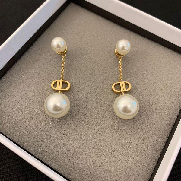 top popular New Double D Letter Pearl Pendant Earrings Jewelry Suitable for Women 14K Gold Earrings Free Shipping 2021