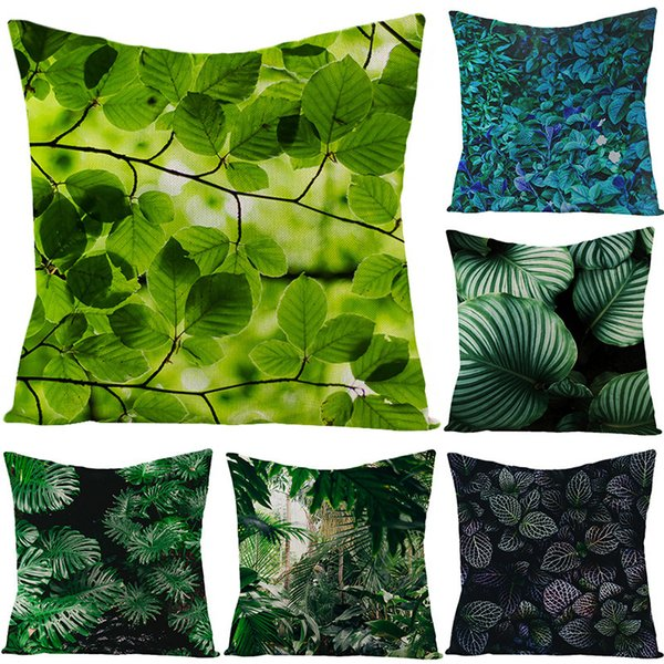 top popular Dark Style Pillow New Tropical Chinese Plant Linen Pillow Cover Sofa Bed Cushion Cover 2021