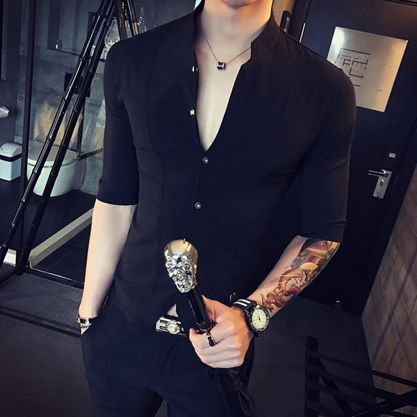 top popular The new summer men 7 minutes of sleeve shirt Fashion collar shirt men's cultivate one's morality 2021