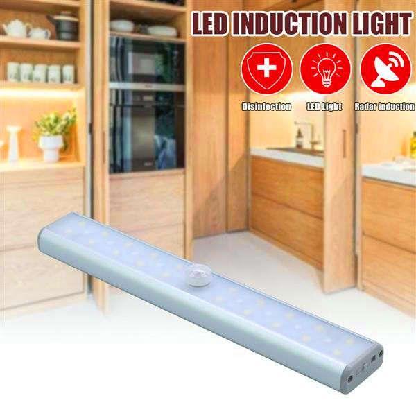 best selling New Design Dual Mode 28LED 2W 100LM 800MAh Infrared Auto-Sensing LED Sterilization UV Wardrobe Lamp Silver USB Charging Indoor Lighting