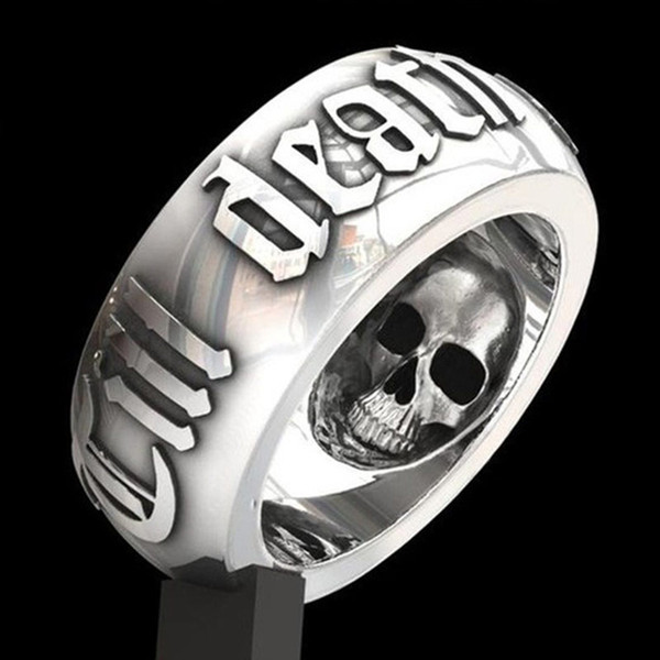 Februaryfrost Brand Vintage Skull Lettering Punk Rings For Men Black Silver Color Personality Head Skeleton Biker Rock Roll Gothic Jewelry