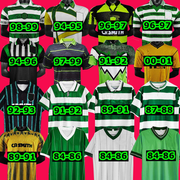 1984 1986 1996 06 08 Celtic Retro Jersey 1991 1993 1998 1999 football shirts LARSSON Classic Vintage Sutton 1995 1997 home away third