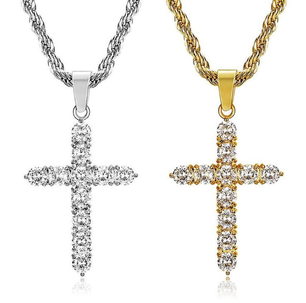 best selling Brand Designer Cross Big Necklace Fashion Pendants with Shining Crystal Stone Hip Hop Rock Gifts for Friends ePacket