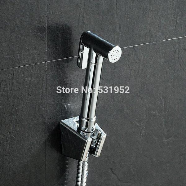best selling Solid Brass Hand Held Bidet Shower Head Douche Kit Shatta Bathroom Toilet Bidet Sprayer Jet Tap & Holder & Hose C0127