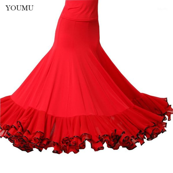 women modern social dance skirt floor-length high waist black red vintage fashion perform show skirts hemlinen 803-2681