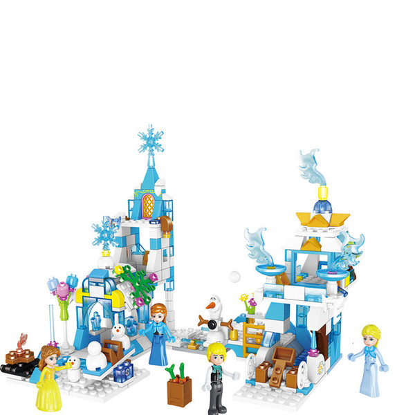 top popular Icelandic girl series ice snow castle small Building-block Toys Compatible with inglys DIY Educating Children Christmas Gift 2020