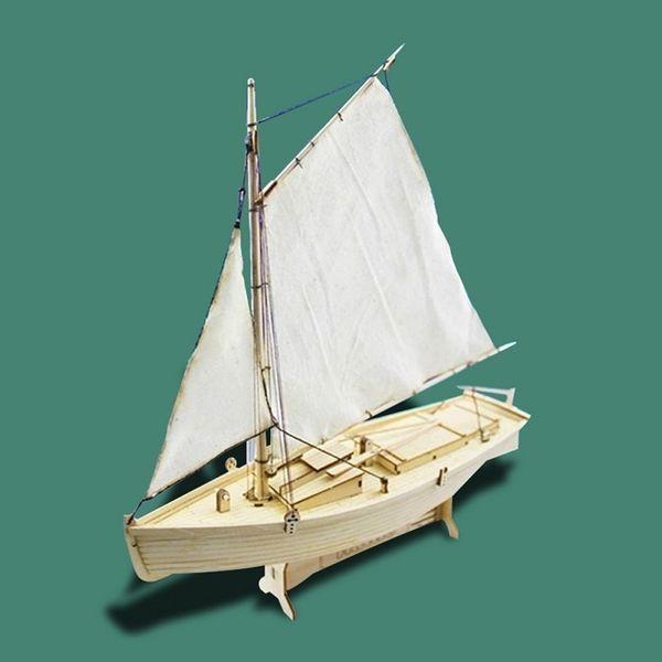 best selling RCtown DIY 1:30 Assembling Building Kits Ship Model Wooden Sailboat Toys Harvey Sailing Model Assembled Wooden Kit Y200428