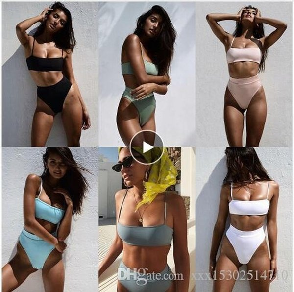top popular Women Sexy Bikinis Solid Bikini 2019 Hot Sale Padded Bra Spaghetti Strap High Waist Swimsuit Swimwear Women Biquini 2021