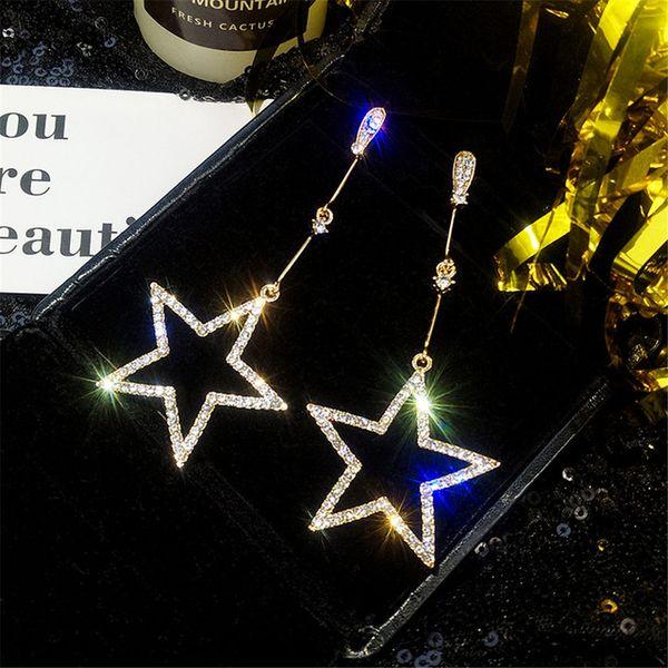top popular Fashion Brincos Oorbellen Bijoux Rhinestone Hollow Long Geometric Drop Earrings Luxury Crystal Star Earrings Ladies Jewelry 2021