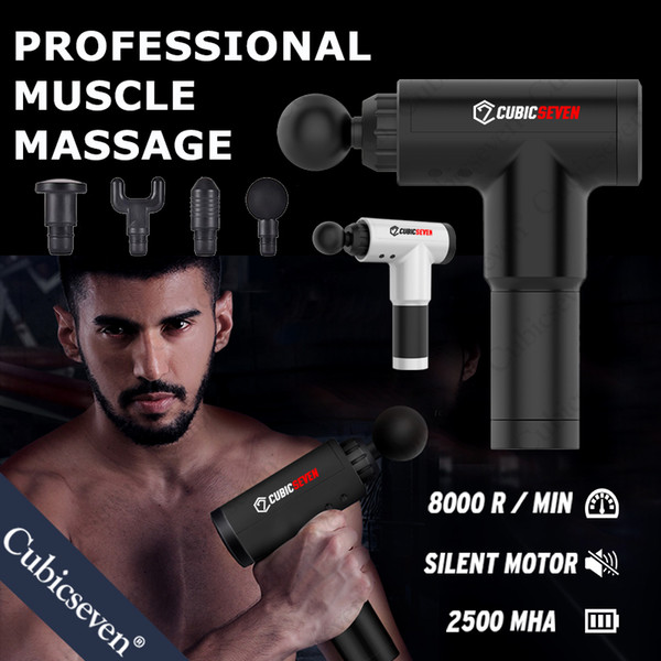 top popular Cubicseven® Therapy Massage Guns 6 Gears Muscle Massager Pain Sport Massage Machine Relax Body Slimming Relief With 4 Heads 2021