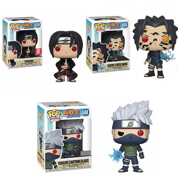 top popular Funko Pop NarutoItachi Kakashi Sasuke Model Vinyl Dolls Action Toy Figures 10cm Collection Figure Toys for Kids Christmas Gift X0121 2021