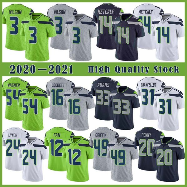 best selling 3 Russell Wilson Football Jersey 14 DK Metcalf 33 Jamal Adams 16 Tyler Lockett 24 Marshawn Lynch 49 Shaquem Griffin 54 Bobby Wagner 12 Fan