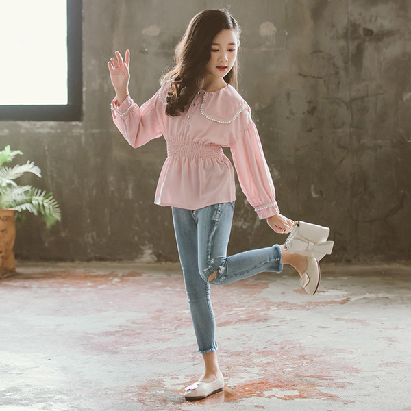 Розовая шифоновая блузка