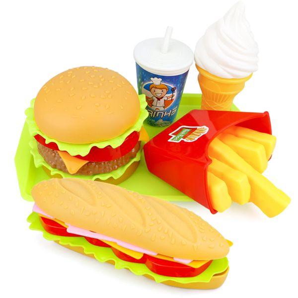 best selling 6PCS Kids Kitchen Toys Miniature Food Simulation Hamburger Hot dog Pretend Play Snack Burger Educational Toy For Girl Children LJ201009