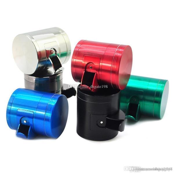 best selling wholesale 40mm 50mm 55mm 63mm side open cut tobacco grinder metal plat Concave custom herb grinder for smoking dry herb
