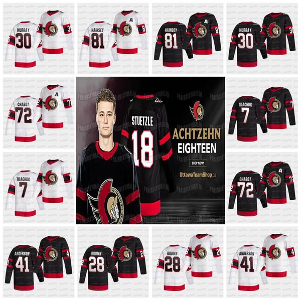 top popular Tim Stuetzle Ottawa Senators 2021 Reverse Retro Jersey Brady Tkachuk Thomas Chabot Matt Murray Connor Brown Craig Anderson Zaitsev Hainsey 2020