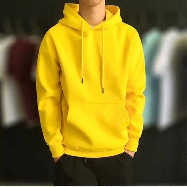 Hoodie solide jaune
