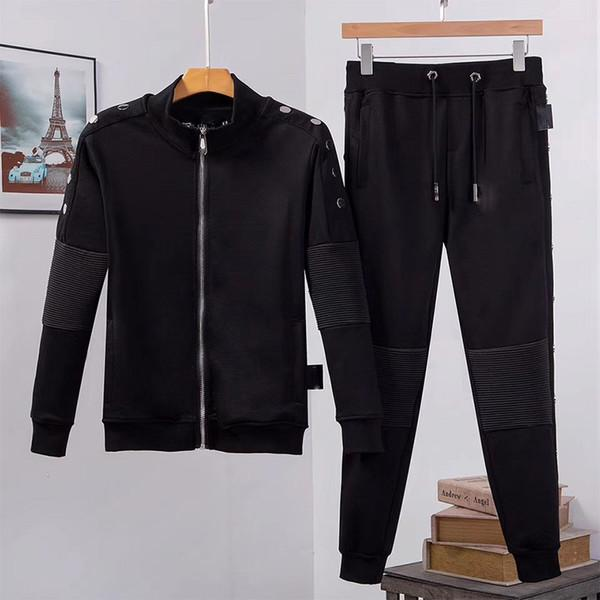 top popular Designer Hoodies+pants 2 Piece Sets Mens Tracksuits black Solid Color Outfit Suits sweatshirt High Quality Zipper Slim Fit Tracksuits 2020