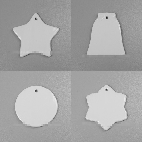 best selling Sublimation Blanks Ceramic Pendant 3 Inch Circular Heat Transfer Print Pendants Christmas Style Decoration DIY Ceramics Ornament 3yj L2
