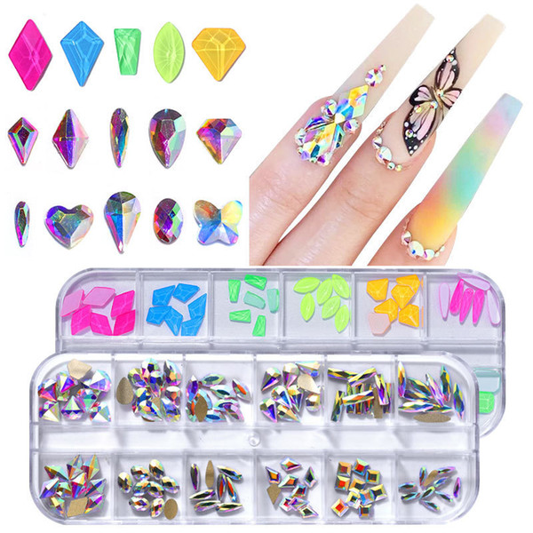 top popular 1 Box Flat Back Multi-size Glass Crystal AB Rhinestone Nail Art Craft Crystal 3D Decor Flat Back Rhinestone 2021