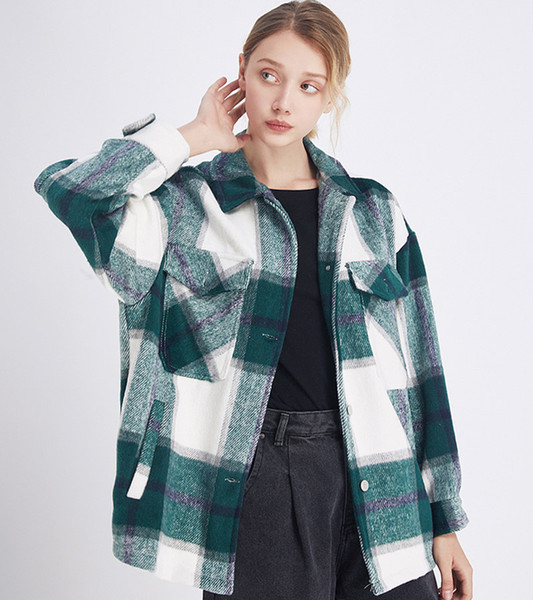 best selling Plaid Jacket Vintage Stylish Pockets Oversized Jacket Coat Women 2020 Fashion Lapel Collar Long Sleeve Loose Outerwear Chic Tops