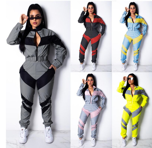 top popular Popular European and American women's solid color two color splicing long sleeve windbreaker suit Plus Size S-XXL 2020