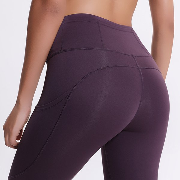 best selling 42% off Hot Sale! Autumn and Winter New Yoga Pants Women's Elastic Double-sided Thin High Waist Pants Splicing Pocket Sports Running Capris