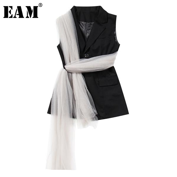 eam] women loose fit black mesh bandage split joint irregular vest new lapel sleeveless fashion tide spring autumn 2020 1x341 1023, Black;white