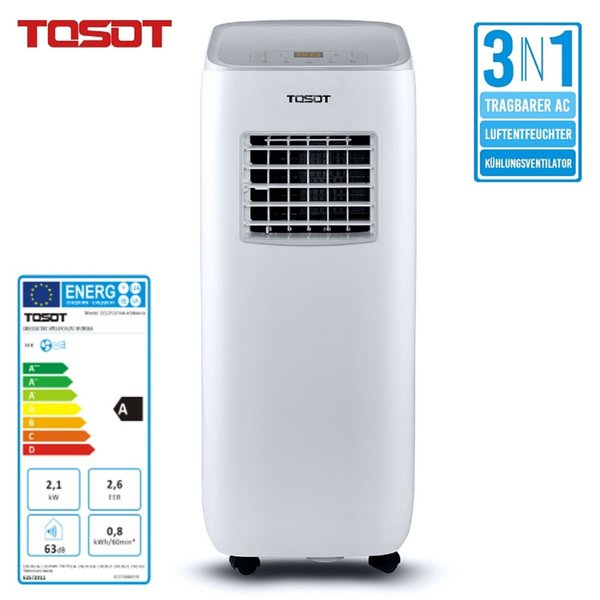 best selling TOSOT Mobile Air Conditioner 3 in 1 Cooling Dehumidifier Fan Remote Control Timer for Basement Bedroom White
