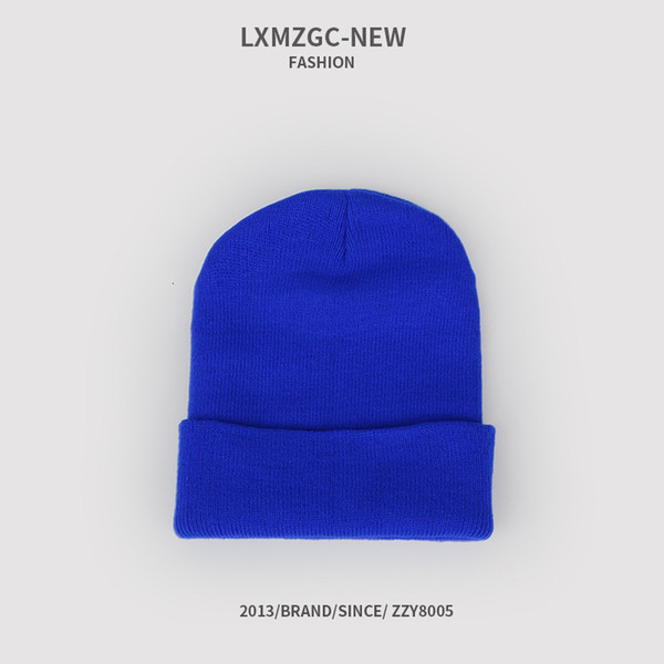 Sombrero de punto fluorescente - azul real