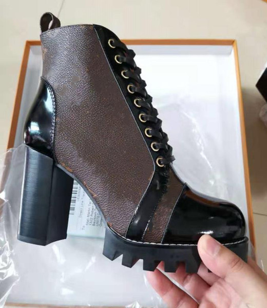 best selling Iconic Look ! Branded Women Patent Canvas Star Trail Ankle Boot Designer Lady Black Leather Trim Zipper Rubber Sole Boots