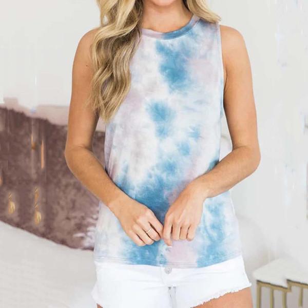 top popular 2020 Summer Print Sleeveles T-shirt Women Tank Top Loose Tie-dye Printed Top Femme Casual Tee Shirt Femme T Shirt Woman XXL 2021