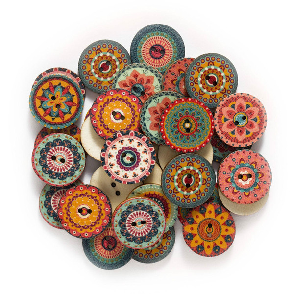 best selling 50PCS Retro series Wood Buttons for Handwork Sewing Scrapbook Clothing Crafts Accessories Gift Card Decor 15-25mm