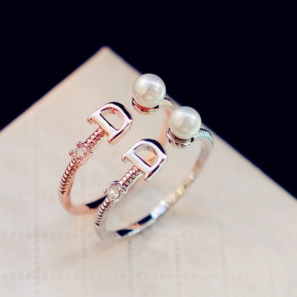 best selling 2021 European Brand Gold Plated Letter D Ring Fashion Pearl Ring Vintage Charms Rings for Wedding Party Vintage Finger Ring Costume Jewelry