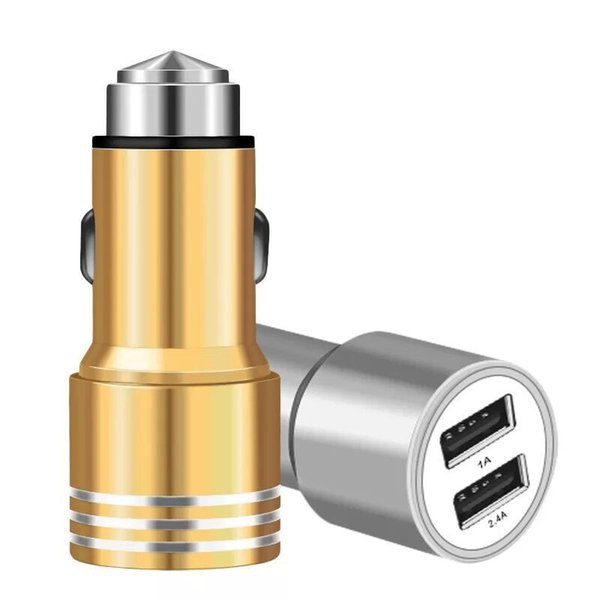 top popular Dual Port USB Car Charger Aluminium Alloy Universal 2.1A 1A Mobile Phone Charging DHL Free Freight 2021