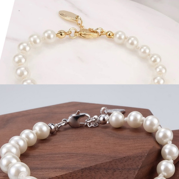 top popular 4 Colors Pearl Beaded Bracelet Women Rhinestone Obit Bracelet Gift for Love Girlfriend Fashion Jewelry Accessories 2021