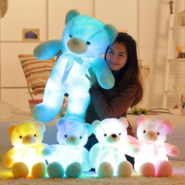 best selling New 30cm 50cm bow tie teddy bear luminous bear doll with built-in led colorful light luminous function Valentine's day gift plush toy